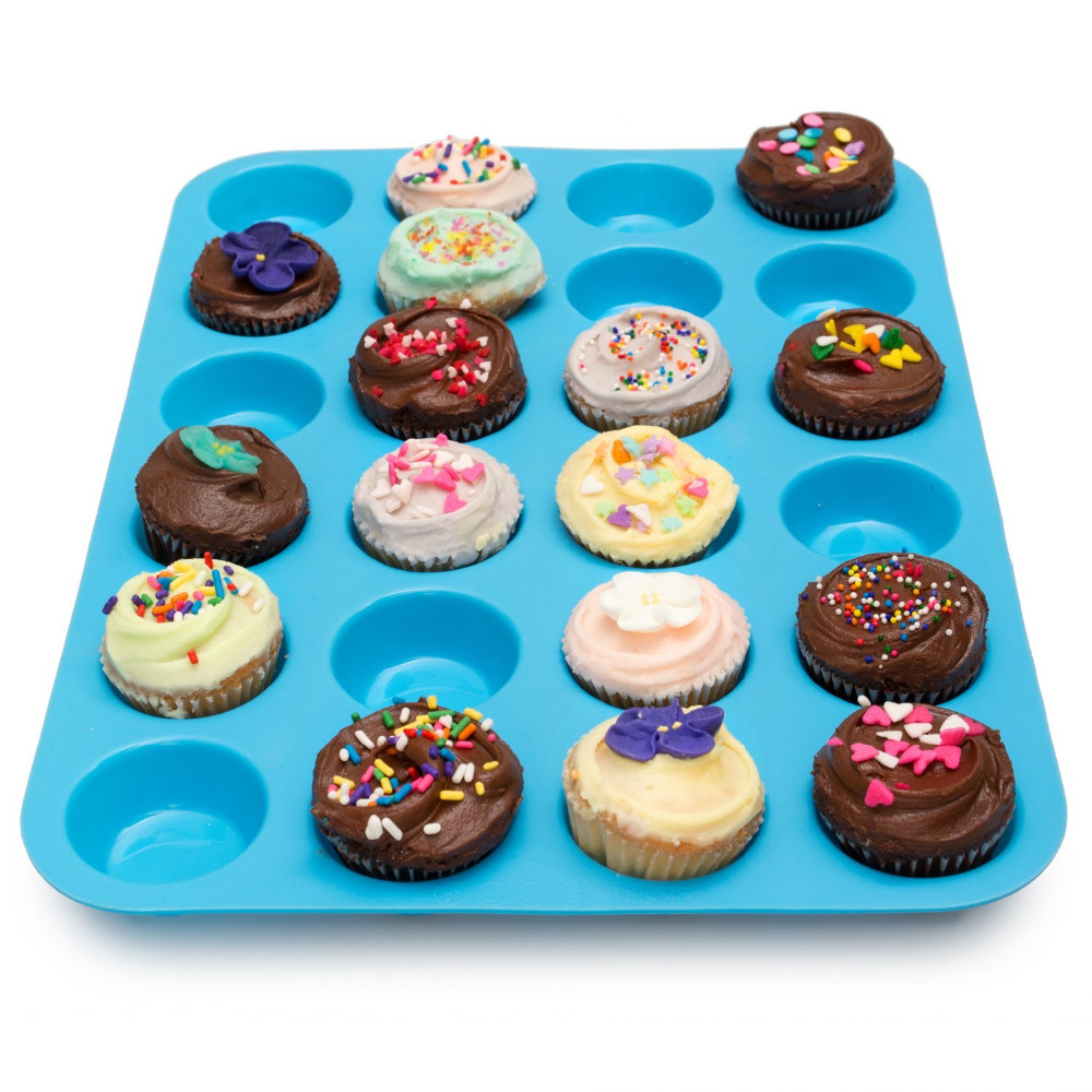 Large Mini Muffin Pan 24 Cups Jumbo Silicone Mold for Cupcakes and Baking Non Stick Tray Bakeware Dishwasher and Microwave Safe