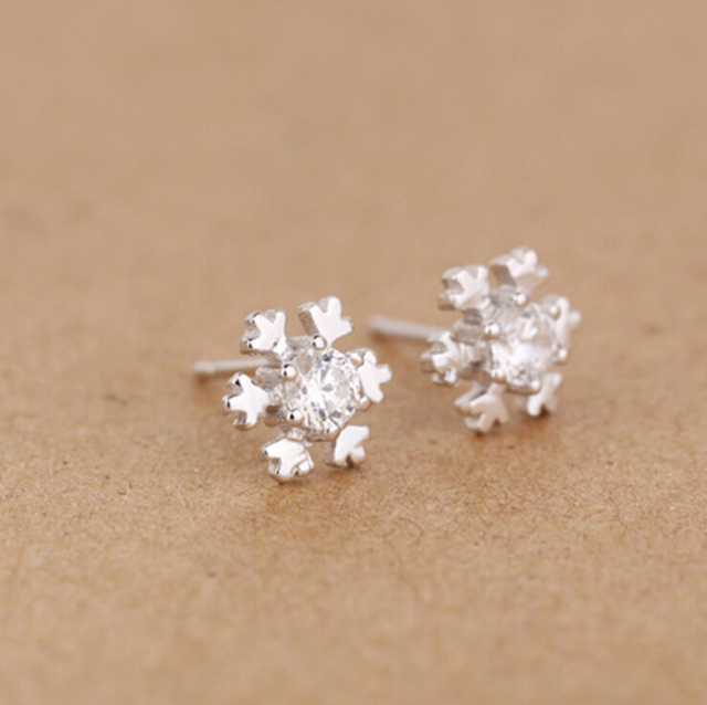 Snowflake Shaped Crystal Stud Earrings