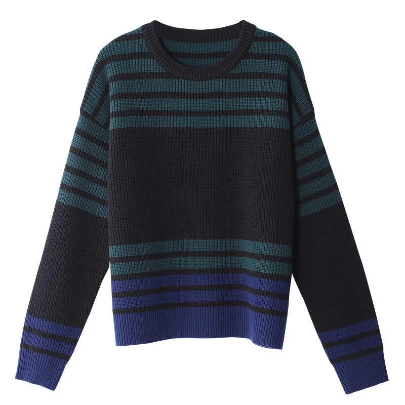 Toyouth осень 2017 г. контраст Цвет Свитер в полоску O Средства ухода за кожей шеи свитер свободный свитер Повседневный пуловер