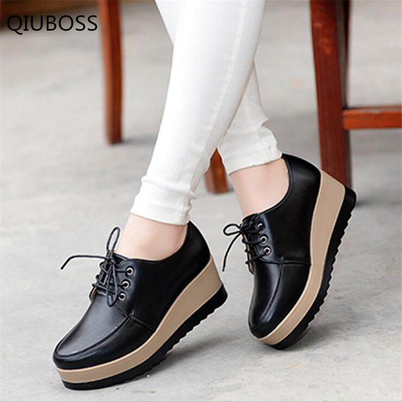 QIUBOSS Women's Shoes Thick Bottom  Made Of Genuine Leather Casual Shoes Fashionable Waterproof On The Platform Sneakers Q741