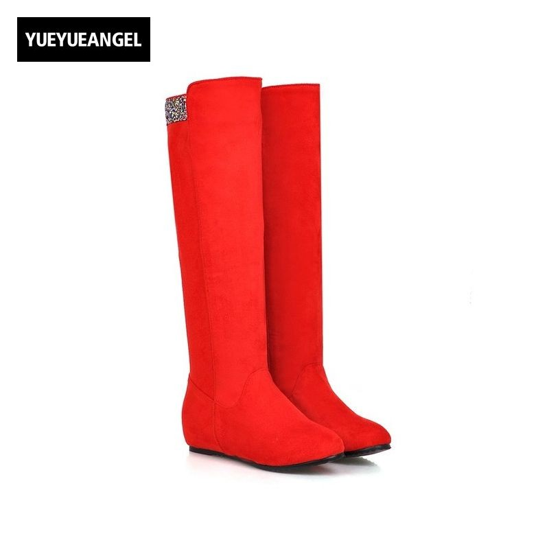 Knee High Boots Women Winter New Fashion Sweet Round Toe Slip On Female Shoes Zapatos De Mujer Bota Feminina Cano Alto Plus Size