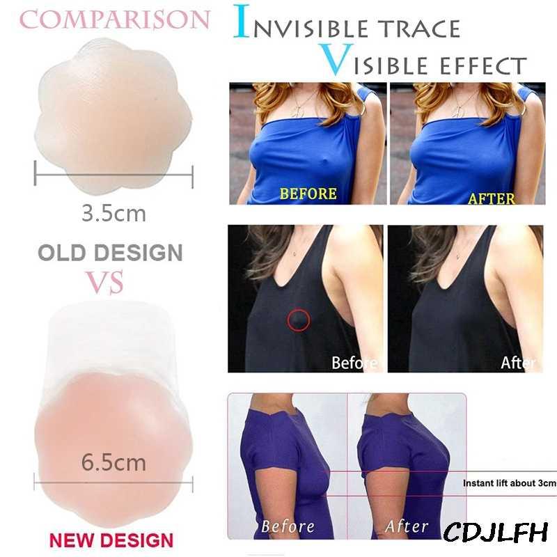 Las mujeres de Adhesivo de silicona Sujetador Push Up cinta de elevación de la cubierta del pezón de trabajo vestido Invisible sujetador sin tirantes Bras seno