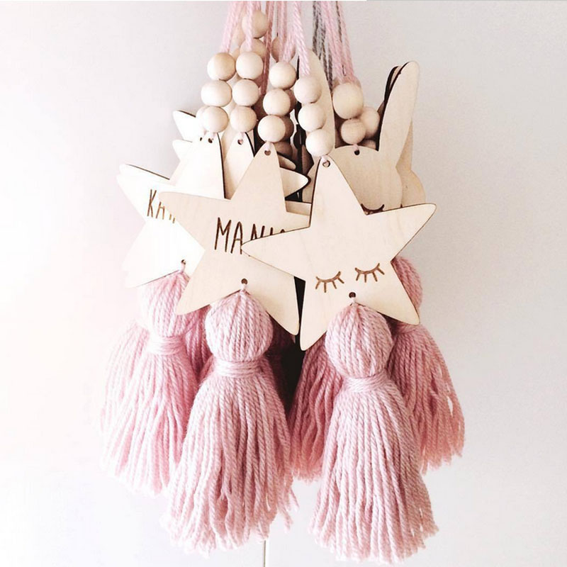 INS Nordic Style Wood Bead Tassel Wall Hanging Ornaments For Kid Room Home Decor Sleepy Eyes Star Pendant Photography Props Gift
