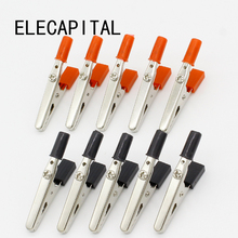 IMC Hot 10 pcs 50mm Plastic Handle Test Probe Metal Alligator Clips