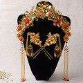 Traje chino tocado de la novia flor del tocado de pelo de la Corona de oro rojo sacudida paso un dragón demuestra la ropa espectáculo cheongsam Wo