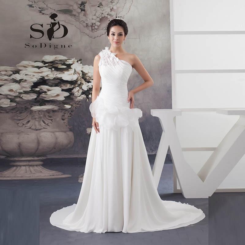 Svatební šaty 2018 SoDigne Nový příjezd Jedno rameno Šifónové volánky Vestido De Noiva Elegantní svatební šaty