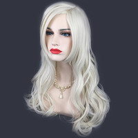 New 1pc 65cm Long Silver White Front Wave Curly Synthetic Hair Wigs Extension Hairstyle Tool For