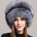 2016 Brand Besty Women Mongolian 100% Real Natural Fur Silver Fox Hat with A Fox Tail  Lady's Winter Warm Hats Soft HairyCaps