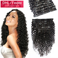 100% Brazilian Human hair Deep curly clip in hair extensions 120g/set Free shipping deep curly clip on hair extension