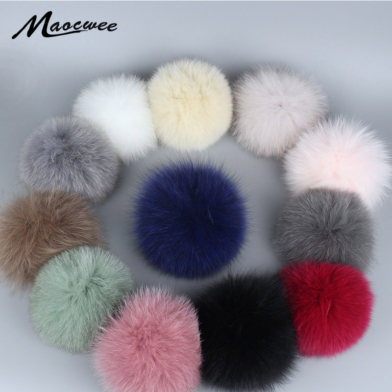 Women Hat Cap Real Fox Fur Pompom Fur Pom Poms For Hats Caps Big Natural Raccoon Fur Pompon For Knitted Hat Cap Beanies Skullie