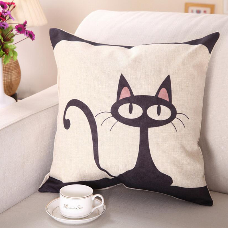 Cartoon Cat Cushion Cover Linen Decorative Pillow Case Car Seat Accessories for Office Bed Sofa Couch Cushion Home Decor