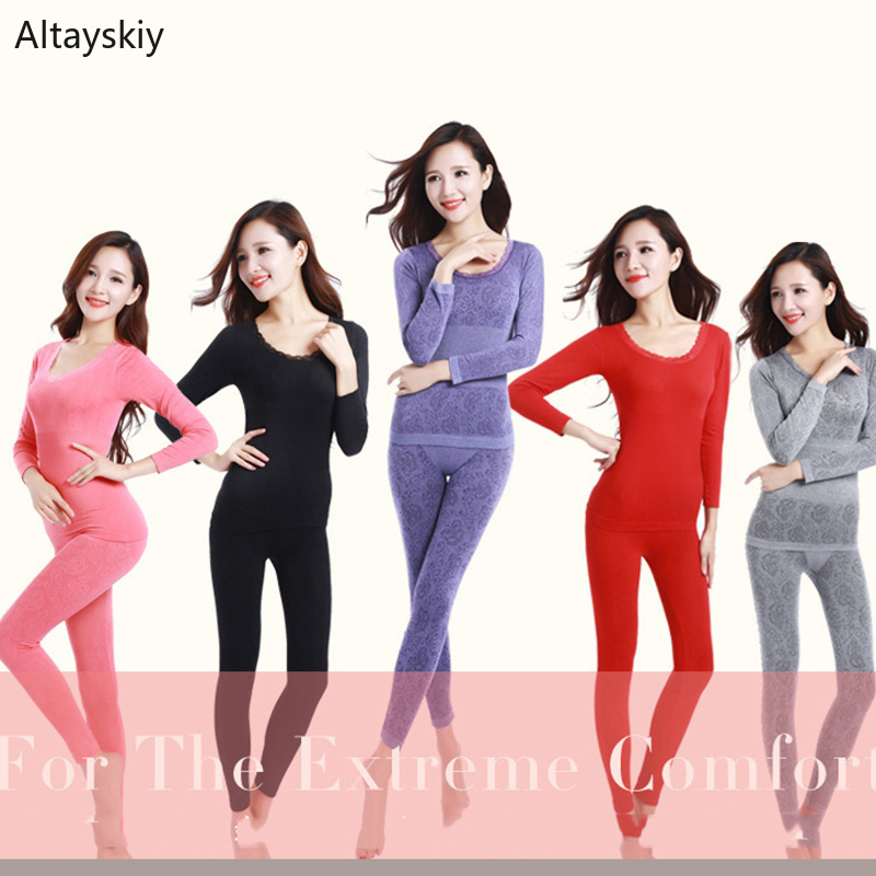 Thermal Underwear Women Lace O-Neck Abdomen Breathable Womens Body Building Shaped Suit Soft Warm Comfortable Colorful Chic Fit