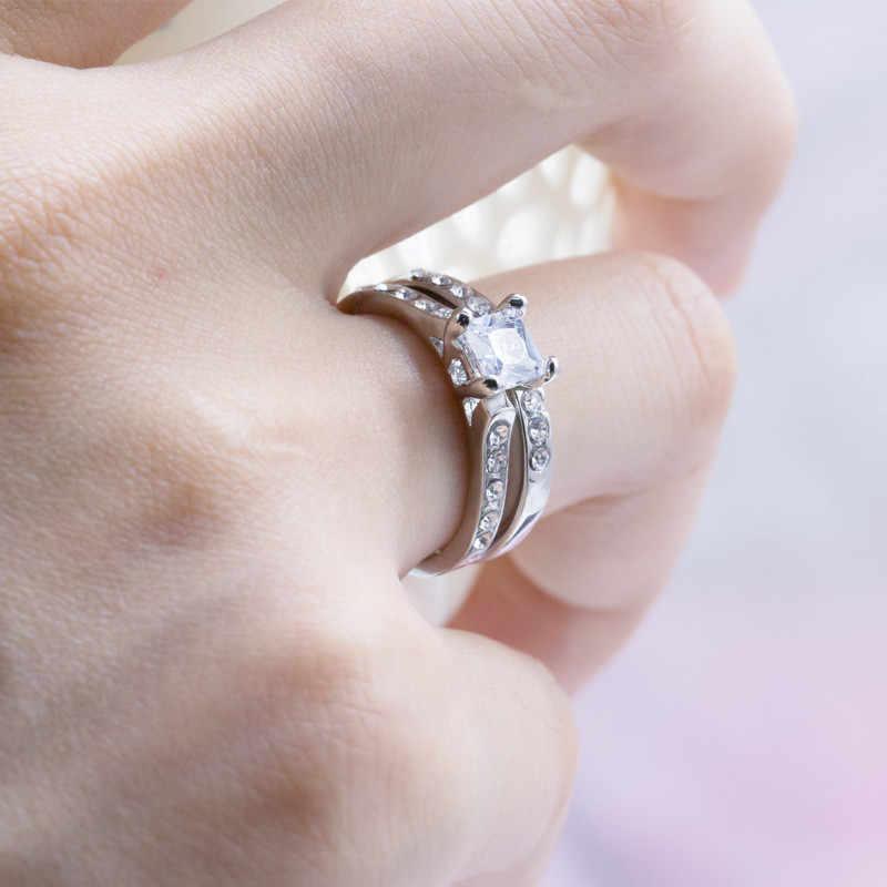 Двухслойные классические роскошные серебряные цветные фианит AAAAA Свадебные Кольца для женщин