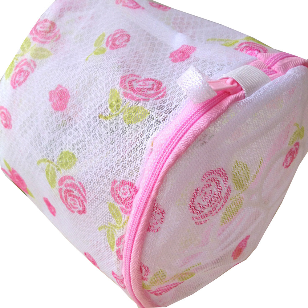 Quality Poeny flower print Protection underwear Bra Laundry Washing Machine Mesh Bag practical bathroom washing net bag on sale