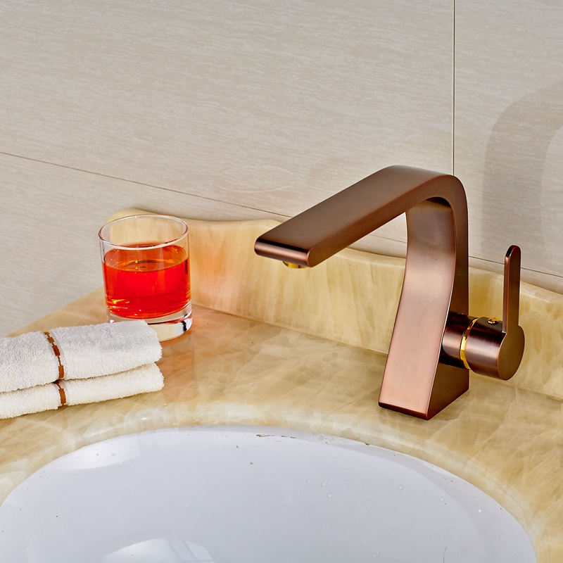 New Red Oil Rubbed Bronze Ceramic Bathroom Faucet Hot&Cold Water Tap Deck Mount free postage oil rubbed bronze tooth brush holder double ceramic cups holder