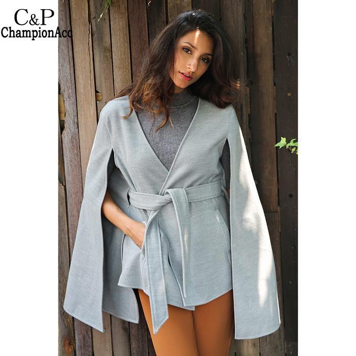 Casual Fashion Women New V-Neck Sleeveless Solid Pocket Cloak Coat Jacket with Belt