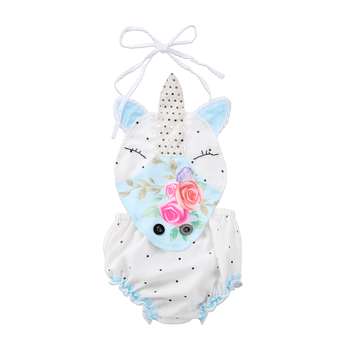 Newborn Baby Girl Clothes Unicorn Floral Strap Sleeveless   Romper   Jumpsuit Clothes Summer