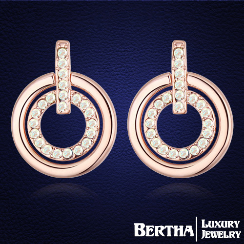 New Trendy Double Circle Stud Earring Jewellery Made With Genuine Swarovski Elements Crystal Rose Gold Color Earrings</fon
