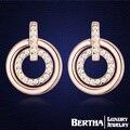 Nova moda duplo círculo brinco jóias com Genuine Swarovski Elements cristal austríaco Rose brincos para mulheres