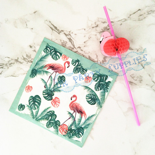 100pcs Decoupage Napkins Flamingo Paper Napkin 33cm 13