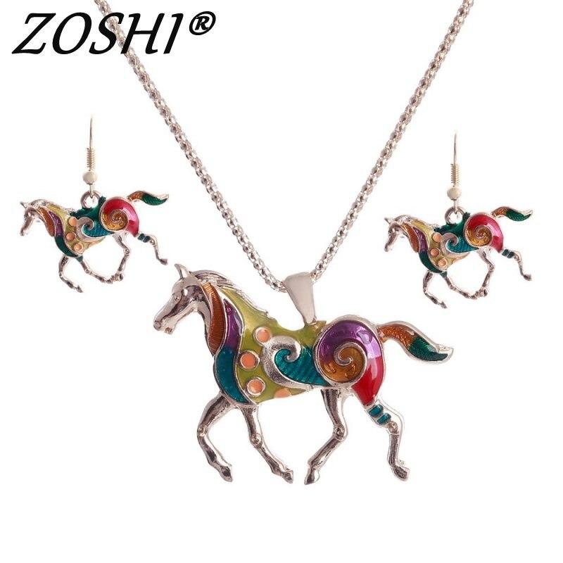 a9fd4702b3df ZOSHI de esmalte colorido caballo conjuntos de joyas para niñas animales  oro caballo de plata colgante