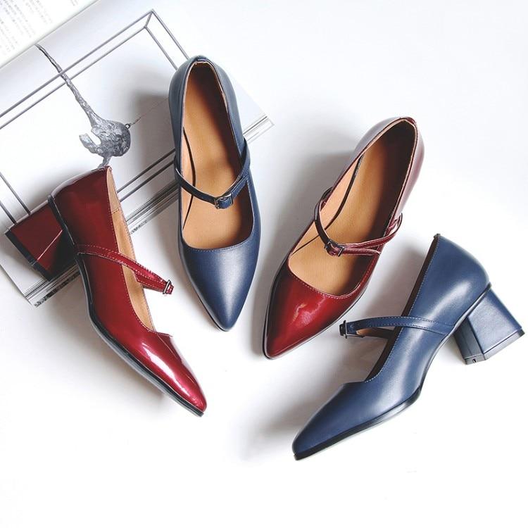 De Negocios rojo Azul Mujer Janes Mary Punta Zapatos Tacones Baja {zorssar} 2018 Solos Verano Trabajo 40RqnwU4B