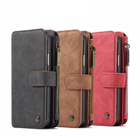 2 in 1 wallet style phone case for iPhone 7/7Plus 8/8Plus XS XR XSMAX multi card slot zipper bag for Samsung S8 S9 Plus case