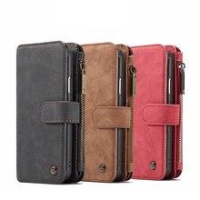 2 в 1 кошелек стиль телефона чехол для iPhone 7/7 плюс 8/8 плюс XS XR XSMAX несколько отделений для карт на молнии сумка для samsung S8 S9 Plus