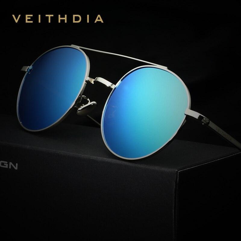 VEITHDIA ÓCULOS de Marca Designer de Moda Unissex Óculos de Sol  Revestimento Polarizada Óculos De Sol Espelho Redondo Masculino Óculos Para  Homens Mulheres ... 689805ee1a