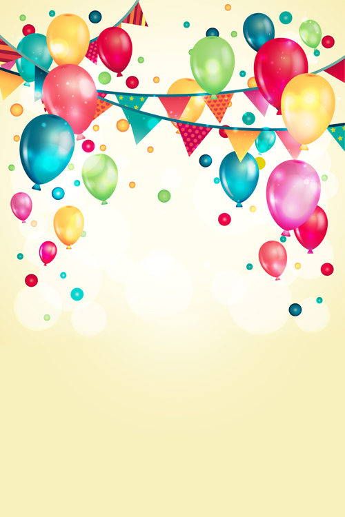 Retro Holiday Background Colorful Balloons Vector Stock Vector ...