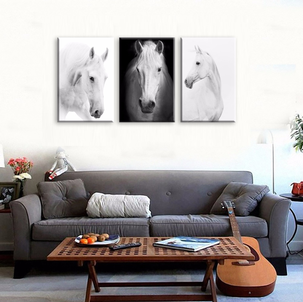 White Horse Wall Art Canvas Prints Modern Art Home Decor For Living ...