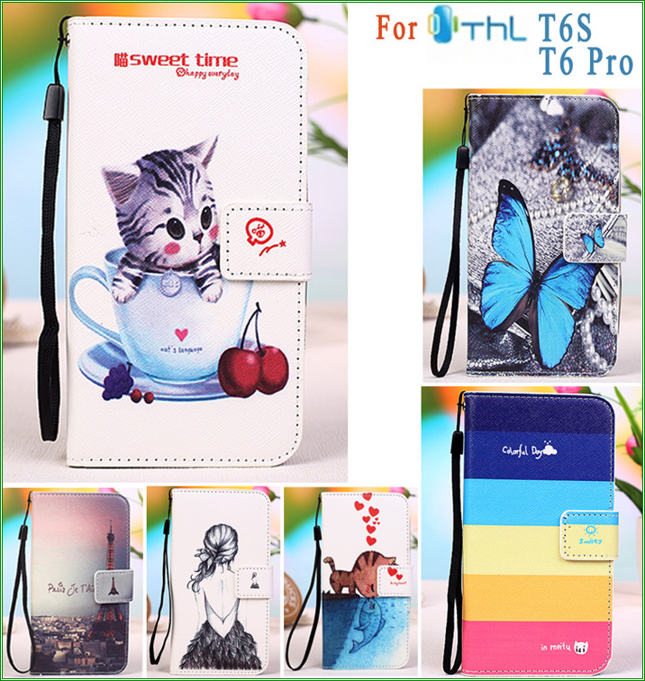 for THL T6 T6S T6 PRO PU Leather Case Butterfly Eiffel Tower Owl Kitty Girl Flag Phone Cover Case for THL T6 T6S T6 Pro