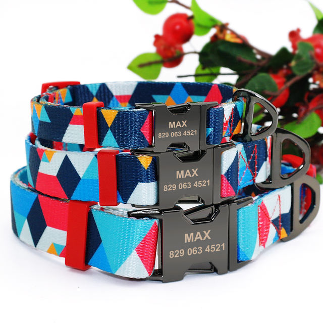 Personalized Dog Collar Pet Printed Nylon Engraved Collars Customized Nameplate Puppy Cat Tag Collar For Small Medium Large Dogs