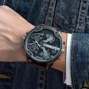 Image 3 - Oulm Klassische Multiple Time Zone herren Uhren Super Große Zifferblatt Männlichen Sport Uhr Luxus Marke Casual Leder Quarzuhr