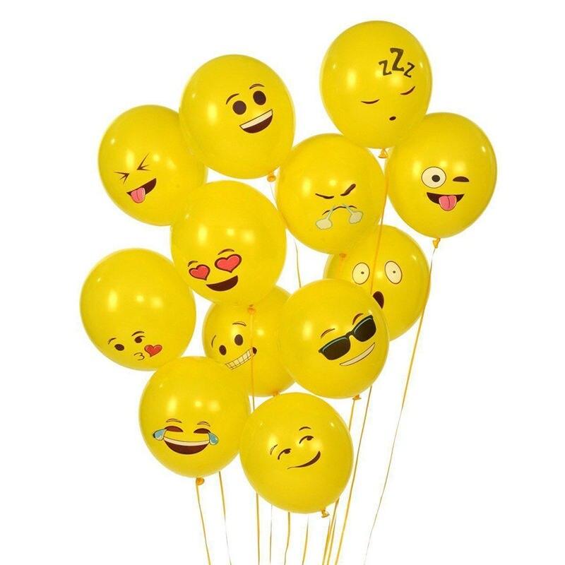 N2HAO 100Pcs/Lot Emoji Balloons Smile Face Expression Yellow Latex Balloons Party Wedding Ballon Cartoon Inflatable Balls 12