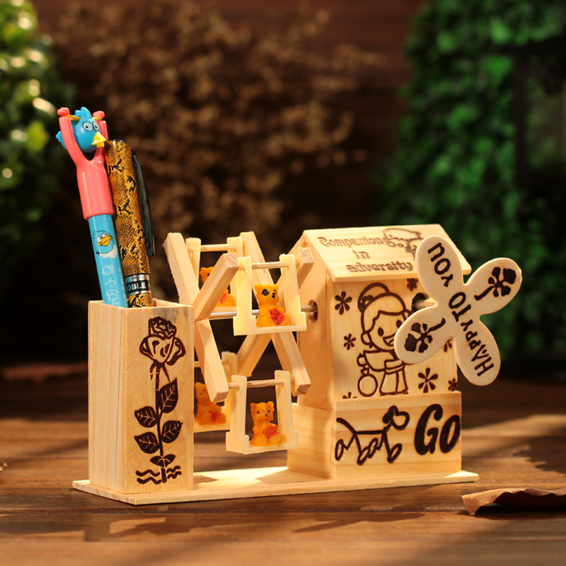 Windmill Music Box Figurines Modern Wooden Crafts Creative Fashion Desk Ornaments Birthday Gifts Home Decor Kids Gifts