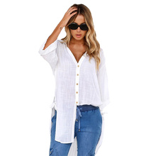 Womens Tops and Blouses Fashion Voile  Korean Clothing Long Sleeved Buttoned V-neck Irregular Top Women Plus Size