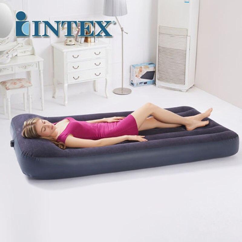 INTEX 66767 99*191*30 CM flocage oreiller intégré matelas gonflable simple lit d'air tapis de Camping avec pompe électrique