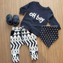 2016 Autumn baby boy clothes set fashion warm cotton long-sleeved letter oh boy T-shirt+ trousers 2pcs newborn baby boy clothing