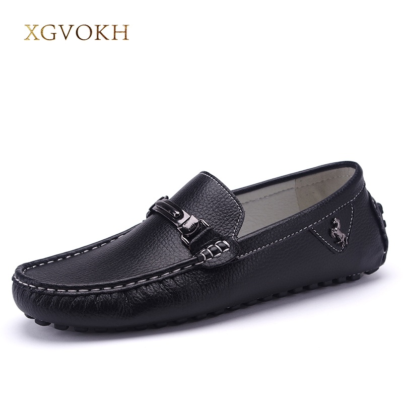 Men Shoes Genuine Leatehr Driving Loafers Moccasins XGVOKH Brand Mens Casual Leisure Fashion Casual Boat Flats Shoes for Man