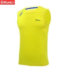 Kunli 2017 new mens tennis shirt outdoor sports O collar clothing running badminton basketball short Soccer T-shirt