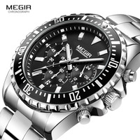 Megir Man S Analogue Chronograph Quartz Watch With Stainless Steel Bracelete Luminous Wristwatch For Boys Calendar