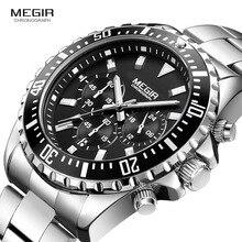 Megir Mans Analogue Chronograph ควอตซ์สแตนเลสนาฬิกา Bracelete Luminous นาฬิกาข้อมือสำหรับชายปฏิทิน 24 ชั่วโมง 2064G