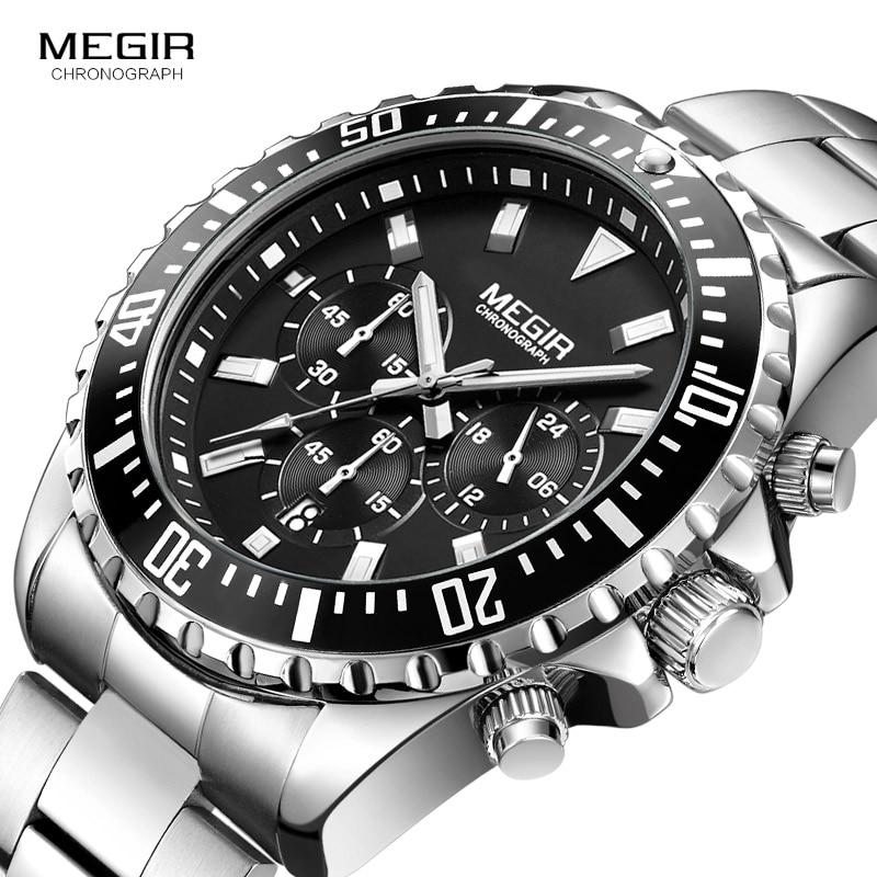 Megir Mans Analogue Chronograph Quartz Watch with Stainless Steel Bracelete Luminous Wristwatch for Boys Calendar 24 Hour 2064GQuartz Watches   -