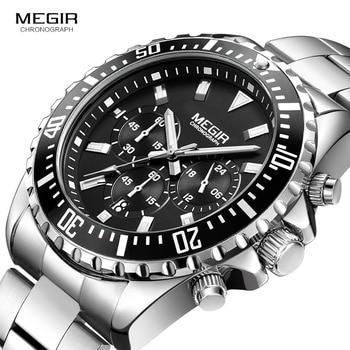 цена Megir Man's Analogue Chronograph Quartz Watch with Stainless Steel Bracelete Luminous Wristwatch for Boys Calendar 24-Hour 2064G онлайн в 2017 году