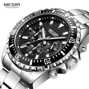 Image 1 - Megir erkek analog kronometreli kuvars saat paslanmaz çelik bilezik aydınlık saatler erkekler için takvimi 24 saat 2064G