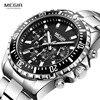 Megir montre à Quartz analogique chronographe pour hommes, avec bracelet en acier inoxydable, montre bracelet lumineuse, calendrier 24 h, 2064G, pour garçons
