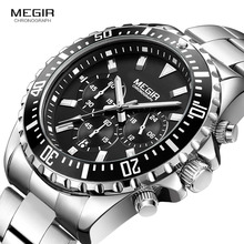 Мужские Аналоговые кварцевые часы Megir с хронографом, браслет из нержавеющей стали, светящиеся наручные часы для мальчиков, календарь, 24 часа, 2064 г