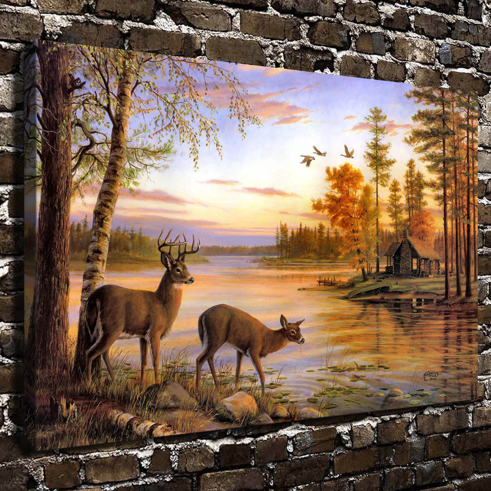 A0368 Natural Scenery Animal Two Deer HD Canvas Print