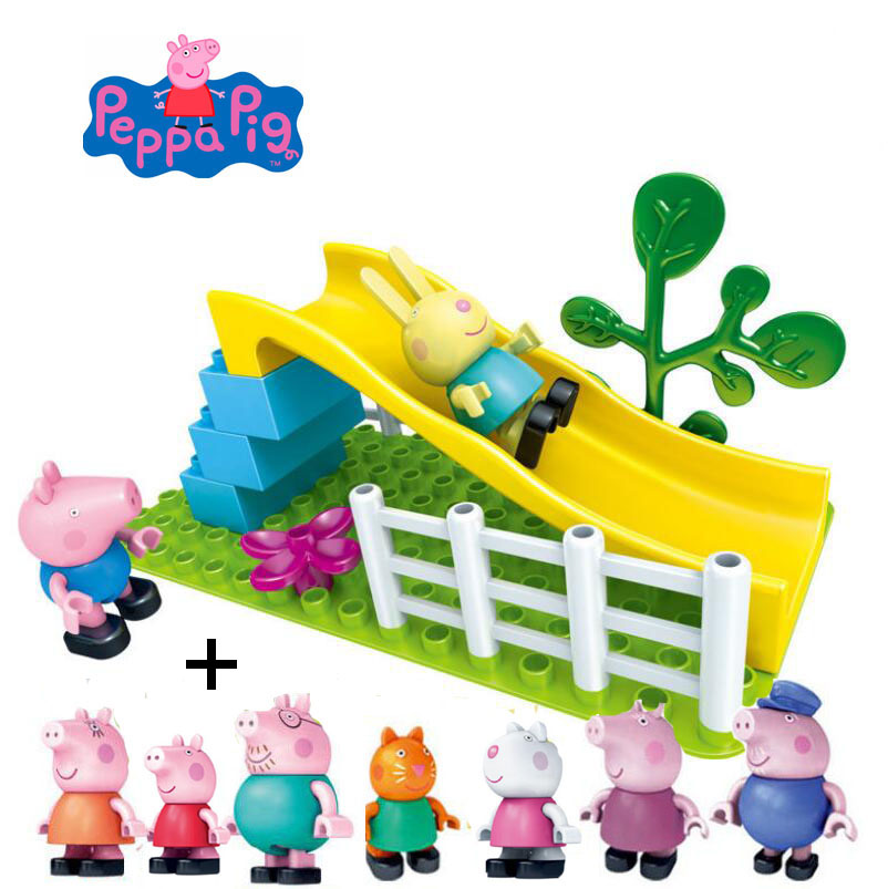1 set Genuine Peppa Pig - figure toy Peppa George daddy mummy daddy family -- Slide in the Amusement Park Building Toy